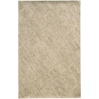 Pantone Universe Colorscape Hand-crafted Loop Pile Beige/ Stone Faded Diamond Wool Area Rug (10' x 13')