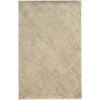 Pantone Universe Colorscape Hand-crafted Loop Pile Beige/ Stone Faded Diamond Wool Area Rug - 8' x 10'