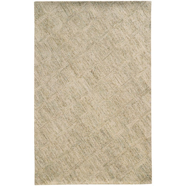 Pantone Universe Colorscape Hand-crafted Loop Pile Beige/ Stone Faded Diamond Wool Area Rug (8' x 10') - 8' x 10'