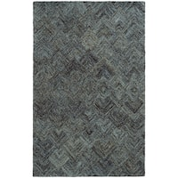 Pantone Universe Colorscape Hand-crafted Loop Pile Charcoal/ Blue Faded Diamond Wool Area Rug (10' x 13') - 10' x 13'