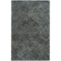 Pantone Universe Colorscape Hand-crafted Loop Pile Charcoal/ Blue Faded Diamond Wool Area Rug - 8' x 10'