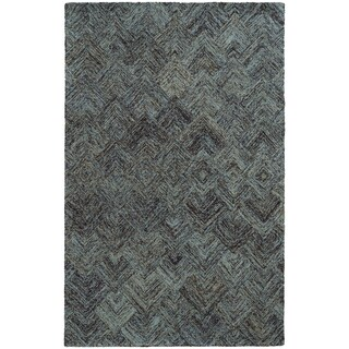 Pantone Universe Colorscape Hand-crafted Loop Pile Charcoal/ Blue Faded Diamond Wool Area Rug (8' x 10') - 8' x 10'