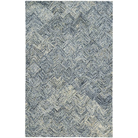 Pantone Universe Colorscape Hand-crafted Loop Pile Charcoal/ Beige Faded Diamond Wool Area Rug (8' x 10') - 8' x 10'