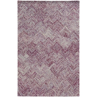 Pantone Universe Colorscape Hand-crafted Loop Pile Purple Faded Diamond Wool Area Rug (10' x 13')