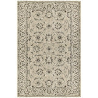 Traditional Oriental Ivory/ Grey Floral Area Rug (6'7 x 9'6)