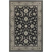 Traditional Persian Charcoal/ Ivory Bordered Area Rug (5'3 x 7'6)