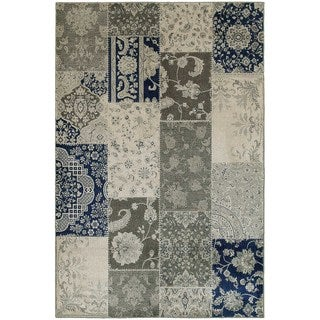 """Persian Ivory/ Grey Patchwork Area Rug (6'7 x 9'6) - 6'7"""" x 9'6"""""""