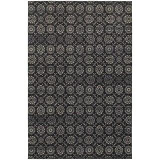 Oriental Navy/ Grey Floral Area Rug (5'3 x 7'6)