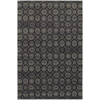 "Oriental  Navy/ Grey Floral Area Rug (5'3 x 7'6) - 5'3"" x 7'6"""