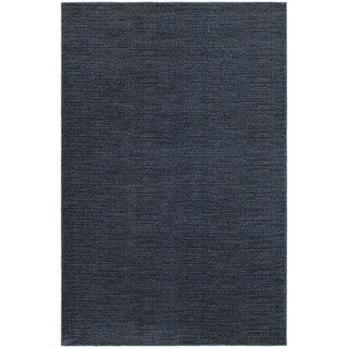 Distressed Navy/ Grey Stripe Area Rug (6'7 x 9'6)
