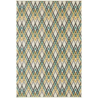 StyleHaven Chevron Ivory/Grey Indoor-Outdoor Area Rug (5'3x7'6)