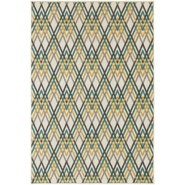 StyleHaven Chevron Ivory/Grey Indoor-Outdoor Area Rug (6'7x9'6)