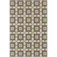 StyleHaven Panel Grey/Gold Indoor-Outdoor Area Rug (5'3x7'6)