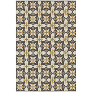 StyleHaven Panel Grey/Gold Indoor-Outdoor Area Rug (6'7x9'6)