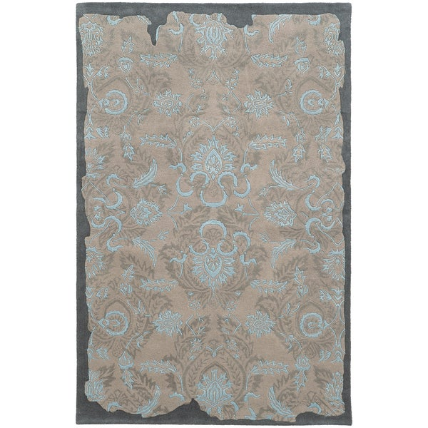 Pantone Universe Color Influence Hand-crafted Eroded Oriental Grey/ Light Blue Wool Area Rug (5' x 8')
