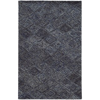 Pantone Universe Colorscape Hand-crafted Loop Pile Blue/ Grey Faded Diamond Wool Area Rug (5' x 8')
