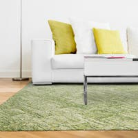 Pantone Universe Colorscape Hand-crafted Loop Pile Green Faded Diamond Wool Area Rug - 5' x 8'