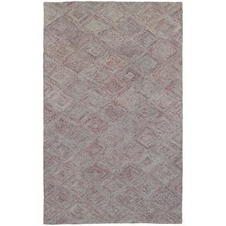 Colorscape Loop Pile Faded Diamond Rust/ Grey (5' x 8')