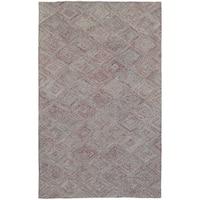 Colorscape Loop Pile Faded Diamond Rust/ Grey - 5' x 8'
