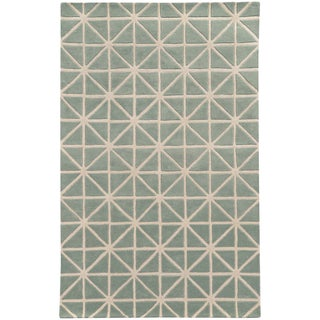 Hand-crafted Wool Triangle Grid-work Grey/ Ivory (5' x 8')