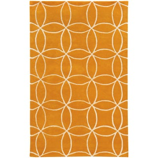 Hand-crafted Wool Inter-locking Circles Orange/ Ivory (5' x 8')