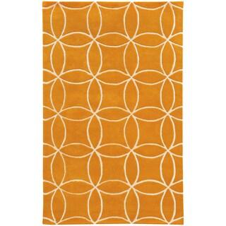 Hand-crafted Wool Inter-locking Circles Orange/ Ivory (5' x 8')