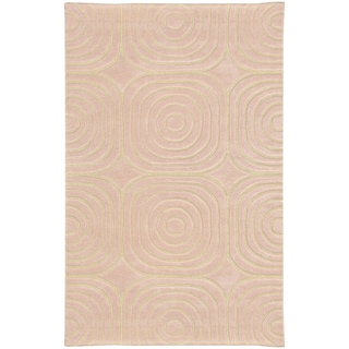 Hand-crafted Wool Soft Geometric Pale Pink/ Ivory (5' x 8') - 5' x 8'