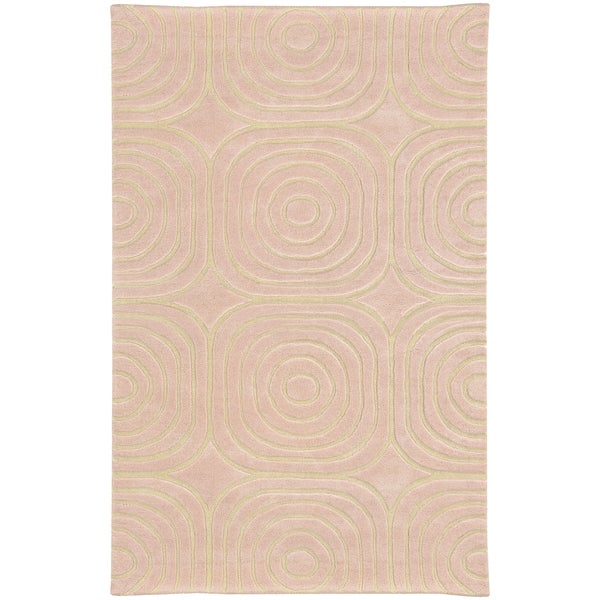 Hand-crafted Wool Soft Geometric Pale Pink/ Ivory - 5' x 8'