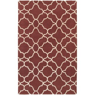 Hand-crafted Wool Ornate Lattice Wine Red/ Ivory (5' x 8')