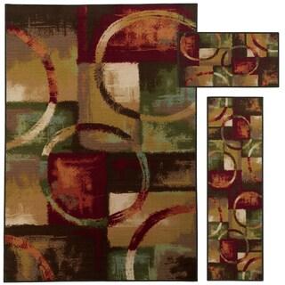 Geometric Circle and Blocks Multi-colored 3-piece Rug Set