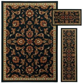 Oriental Floral Border Brown/ Beige 3-piece Set