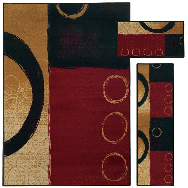 "Clay Alder Home Percha Abstract Color Block and Circles Red/ Black 3-piece Set - 5'1""x7'6"", 1'6""x5'0"", 1'6""x2'8"""