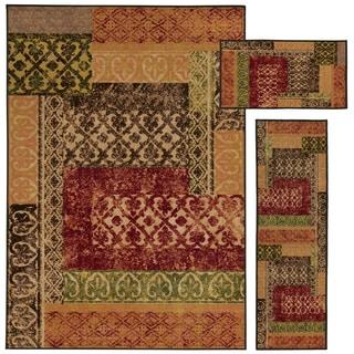 Geometric Lattice Stamped Beige/ Multi-colored 3-piece Set