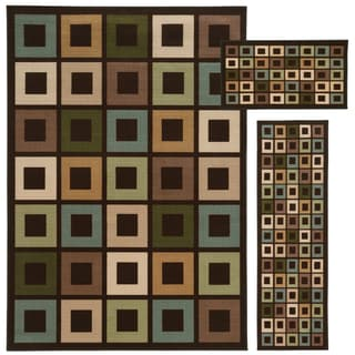 Geometric Block Brown/ Multi-colored 3-piece Set