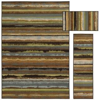 Eroded Stripes Beige/ Blue 3-piece Set