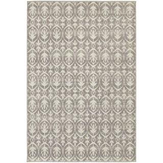 Distressed Leaf Pattern Grey/ Ivory Rug (6'7 x 9'6)