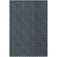 """StyleHaven Diamond Navy/Ivory Indoor-Outdoor Area Rug (5'3x7'6) - 5'3"""" x 7'6"""""""