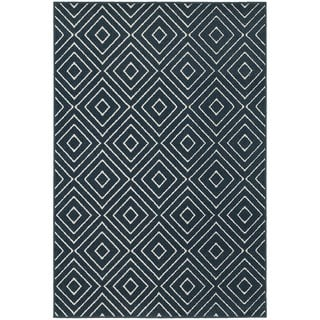 Geometric Diamond Navy/ Ivory Rug (6'7 x 9'6)