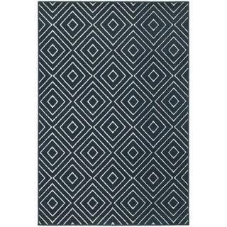 StyleHaven Diamond Navy/Ivory Indoor-Outdoor Area Rug (6'7x9'6)