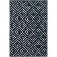 """StyleHaven Diamond Navy/Ivory Indoor-Outdoor Area Rug (6'7x9'6) - 6'7"""" x 9'6"""""""