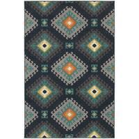 """StyleHaven Tribal Navy/Grey Indoor-Outdoor Area Rug (6'7x9'6) - 6'7"""" x 9'6"""""""