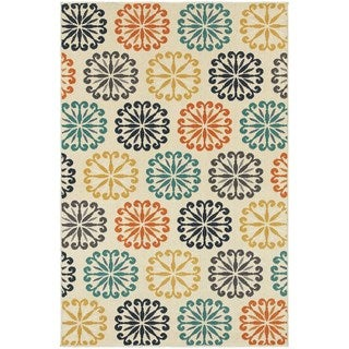 Floral Circles Ivory/ Multi-colored Rug (5'3 x 7'6)