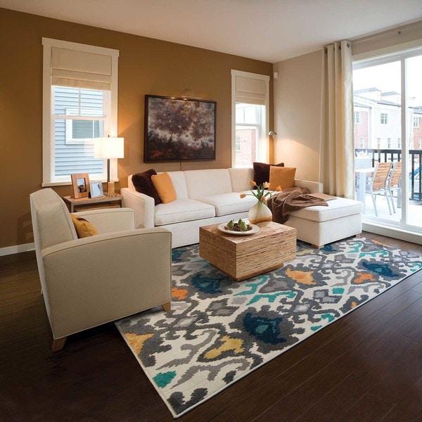 "StyleHaven Tribal Ikat Ivory/Multi Indoor-Outdoor Area Rug (5'3x7'6) - 5'3"" x 7'6"""