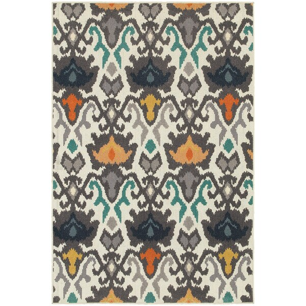 Floral Tribal Ikat Ivory Multi Colored Rug 6 7 X 9 6