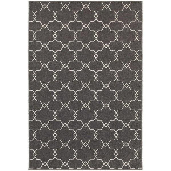"""StyleHaven Geometric Trellis Grey/Ivory Indoor-Outdoor Area Rug (5'3x7'6) - 5'3"""" x 7'6"""""""