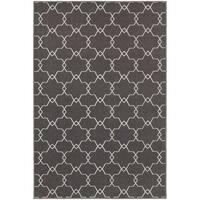 """StyleHaven Geometric Trellis Grey/Ivory Indoor-Outdoor Area Rug (6'7x9'6) - 6'7"""" x 9'6"""""""