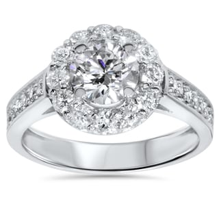 14k White Gold 1 3/4ct TDW Halo Diamond Engagement Ring