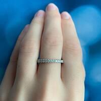 Miadora Signature Collection 14k White Gold 3/4ct TDW Diamond Eternity Ring
