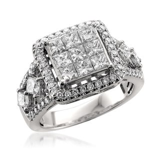 Montebello 14k White Gold 2ct TDW Princess-cut Diamond Ring
