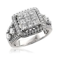 Montebello 14KT White Gold 2ct TDW Princess Cut Diamond Ring